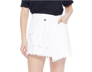 In The Clouds White Denim Skirt