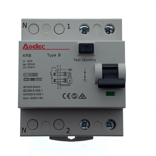 RCD Type B, RCCB, 63 Amp, Single Phase (Installations: Electric Vehicle Charging)