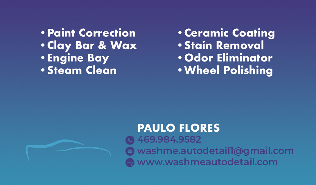 Wash Me Auto Detail Business Cards