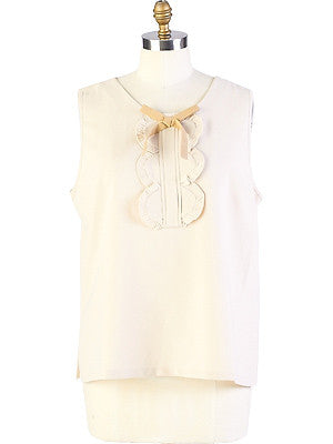 Ribbon Tank-Cream