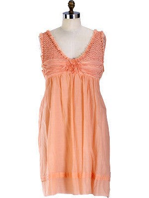 Puckered Day Dress-peach