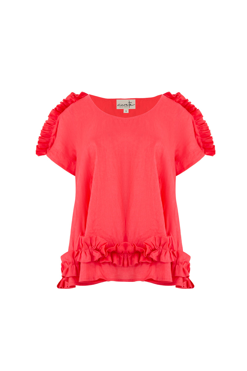 Ruffle Of Love Top - Watermelon