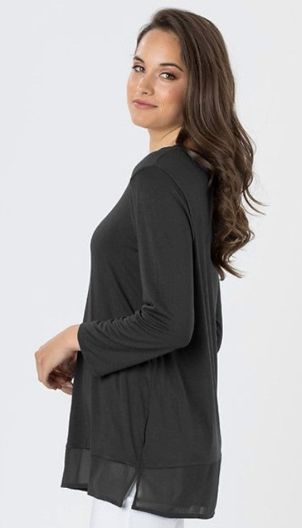 Long Sleeve Chiffon Hem Top - 3 Colours