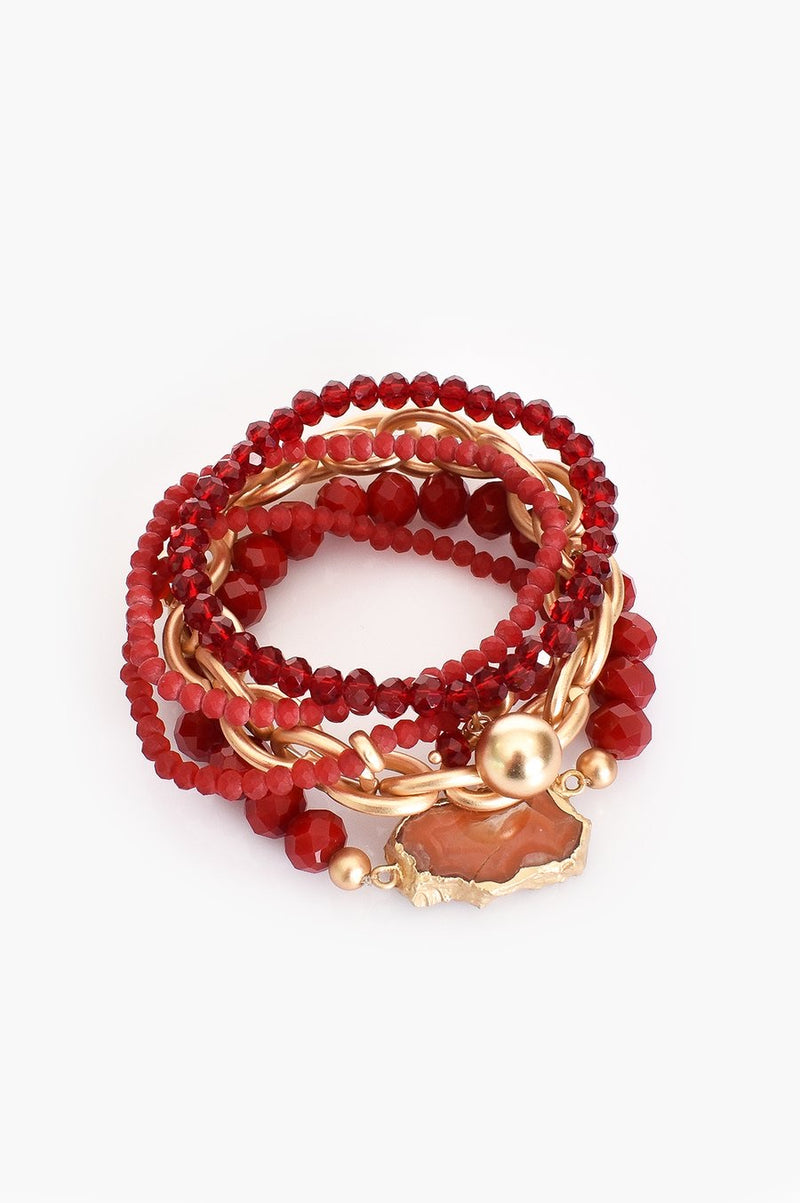 Beaded Multi-Strand Bracelet - Red