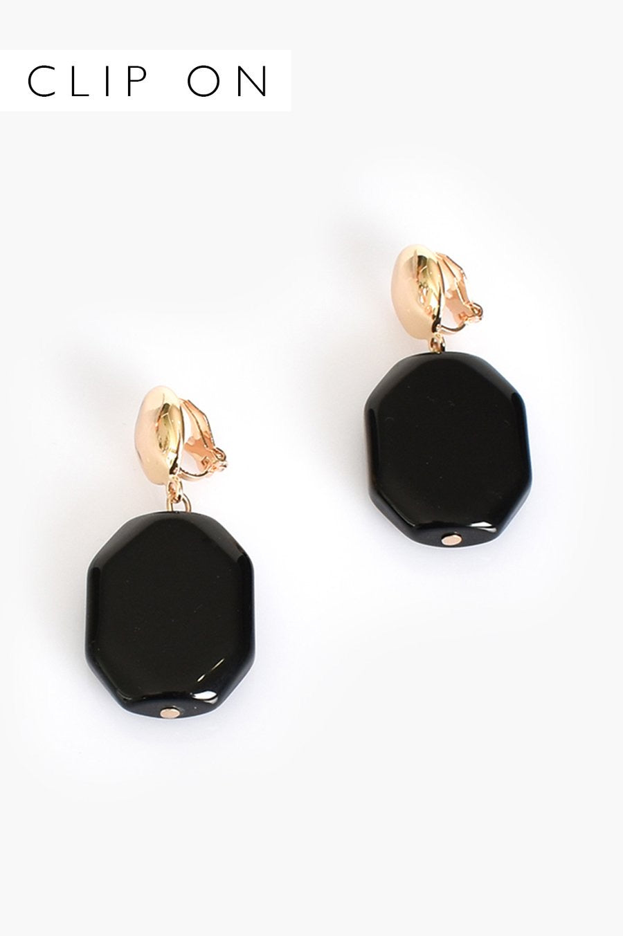 Faceted Black Resin Clip On Earrings