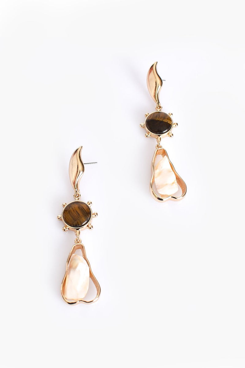 Tiger Stone Drop Earrings