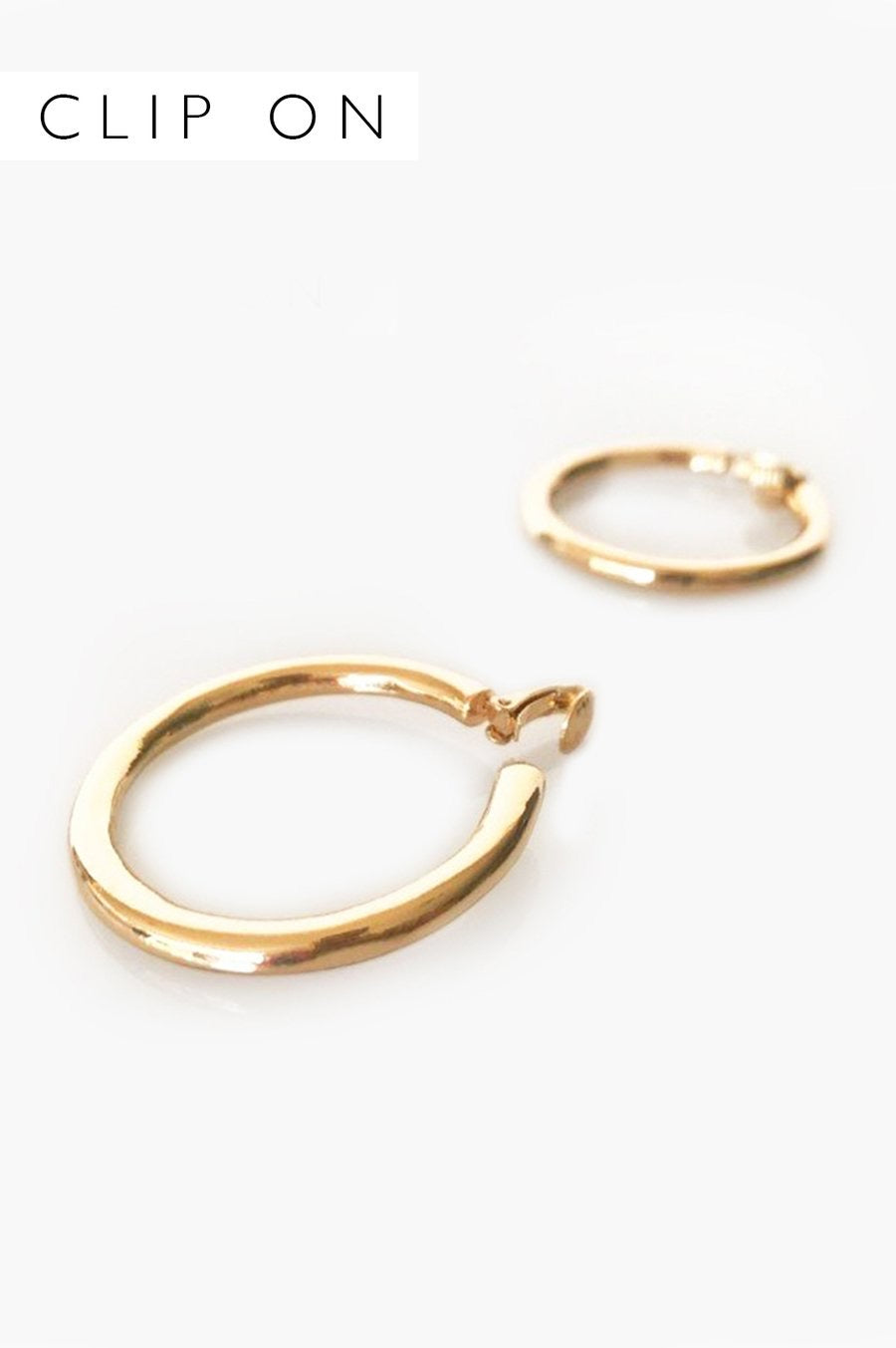 Gold Hoop Clip On Earrings