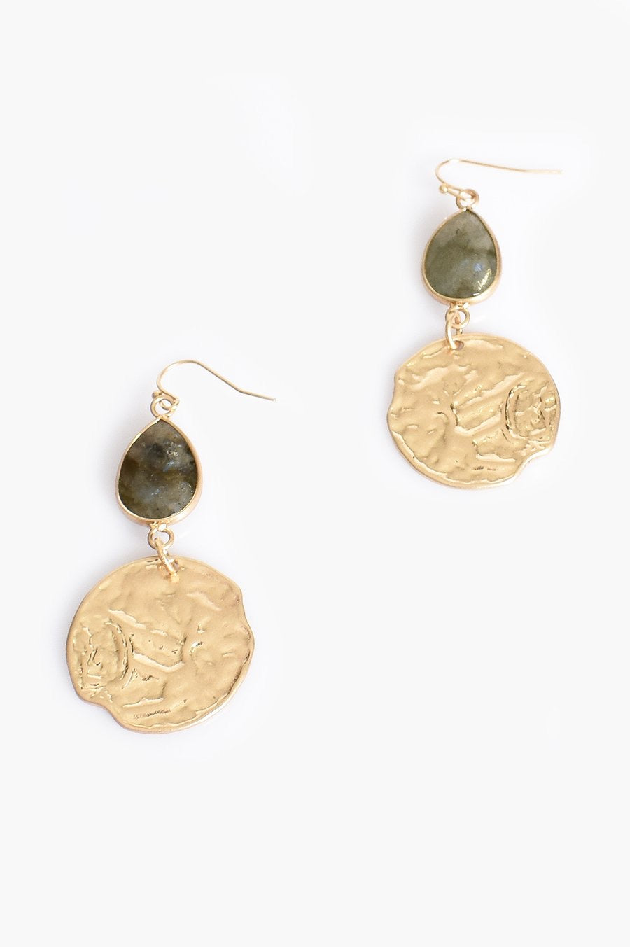 Stone Teardrop & Disc Earrings