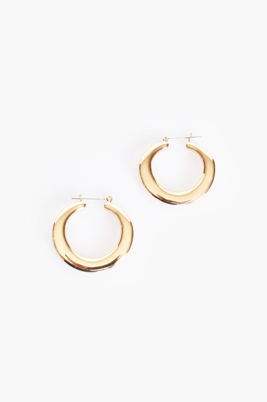 Small Chunky Metal Hoop Earrings