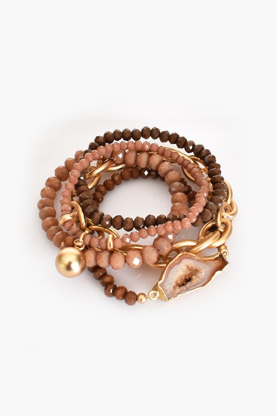 Beaded Multi-Strand Bracelet - Tan