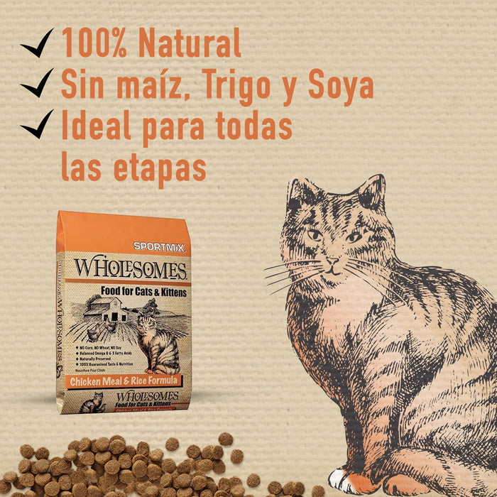 Sportmix Wholesomes Pollo y Arroz - Para Gatos
