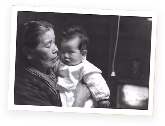 Young Akira Kodama with his grandmother