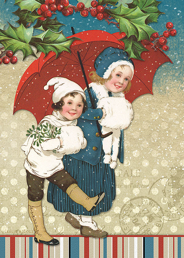 Holiday greeting using a vintage image of a boy and girl walking in the snow.