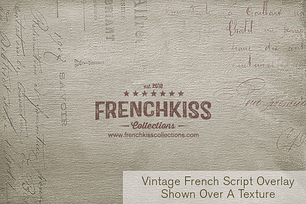 Vintage French Script overlay on a painted texture from the Artiste collection.