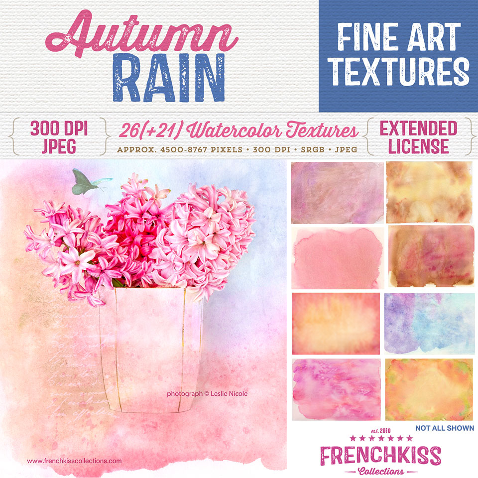 Autumn Rain fine art watercolor texture collection by French Kiss Collections. Commercial license.