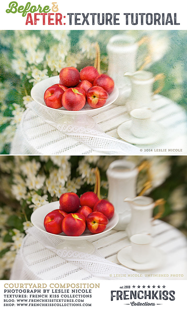 Before and After texture tutorial for Lensbaby still life photograph.