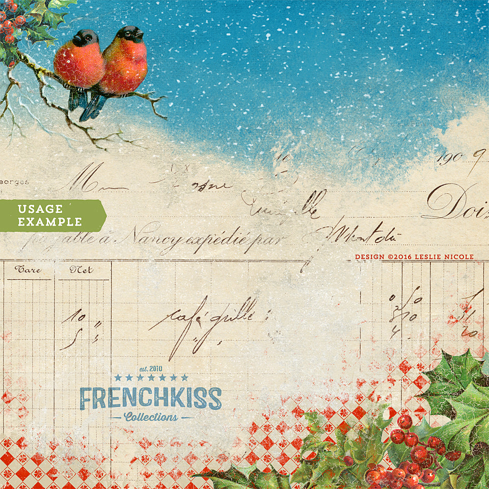 Christmas digital paper design with vintage graphics including Bullfinches and holly illustrations.