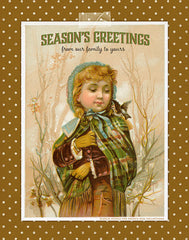 Season's greetings with a vintage illustration of a girl in the snow and a polka dot digital paper.