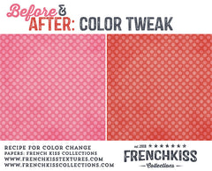 Recipe to change the color of digital papers from valentine pink to Christmas colors.