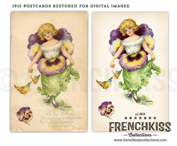Dulk flower fairies vintage postcards restored.