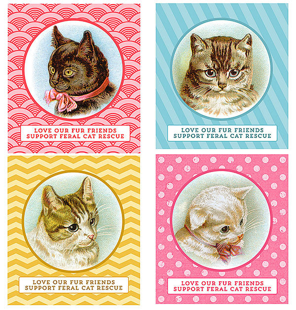 Sticker or tag digital download featuring vintage cat illustrations that support feral cat rescue.