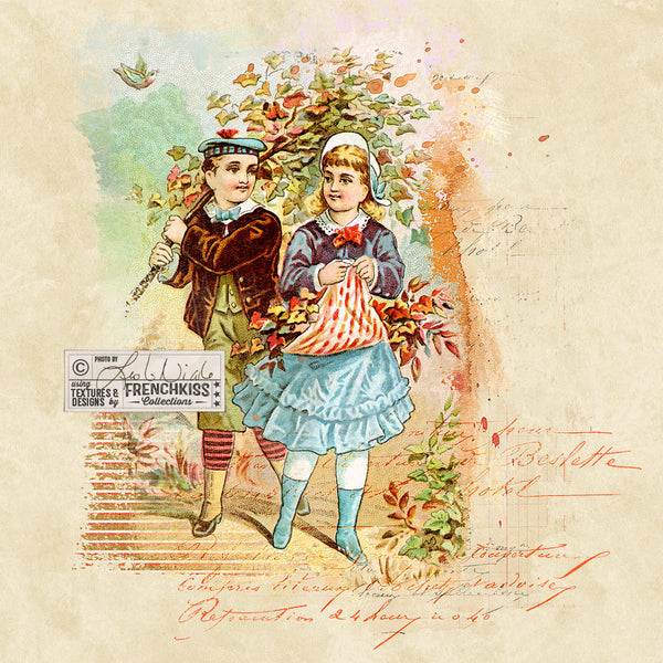 Collage example using the 4 Seasons Victorian Trade Card Fall digital download.