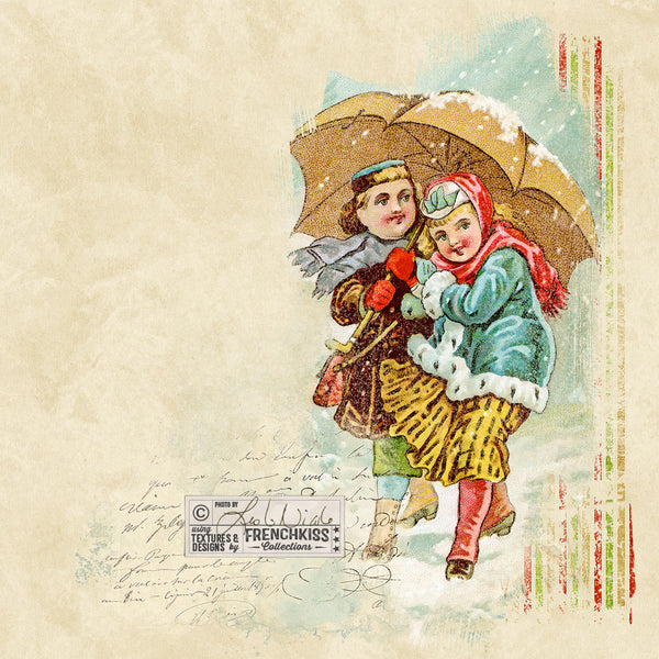 Collage example using the 4 Seasons Victorian Trade Card Winter digital download.