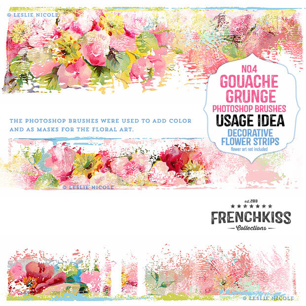 Decorative messy floral strips designed by Leslie Nicole using the French Kiss Collections' Gouache Grunge No 4 Photoshop brushes.