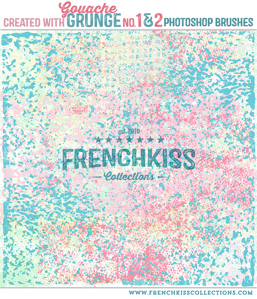 Gouache Grunge patterned Photoshop brushes.