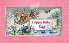 Happy Turkey Day to all in America vintage turkey greeting.