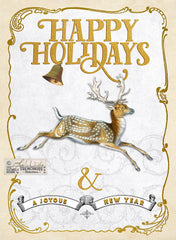 Christmas card design using a vintage deer illustration and vintage frame.