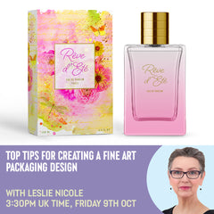 Free webinar top tips for creating a fine art packaging desgin with Leslie Nicole.