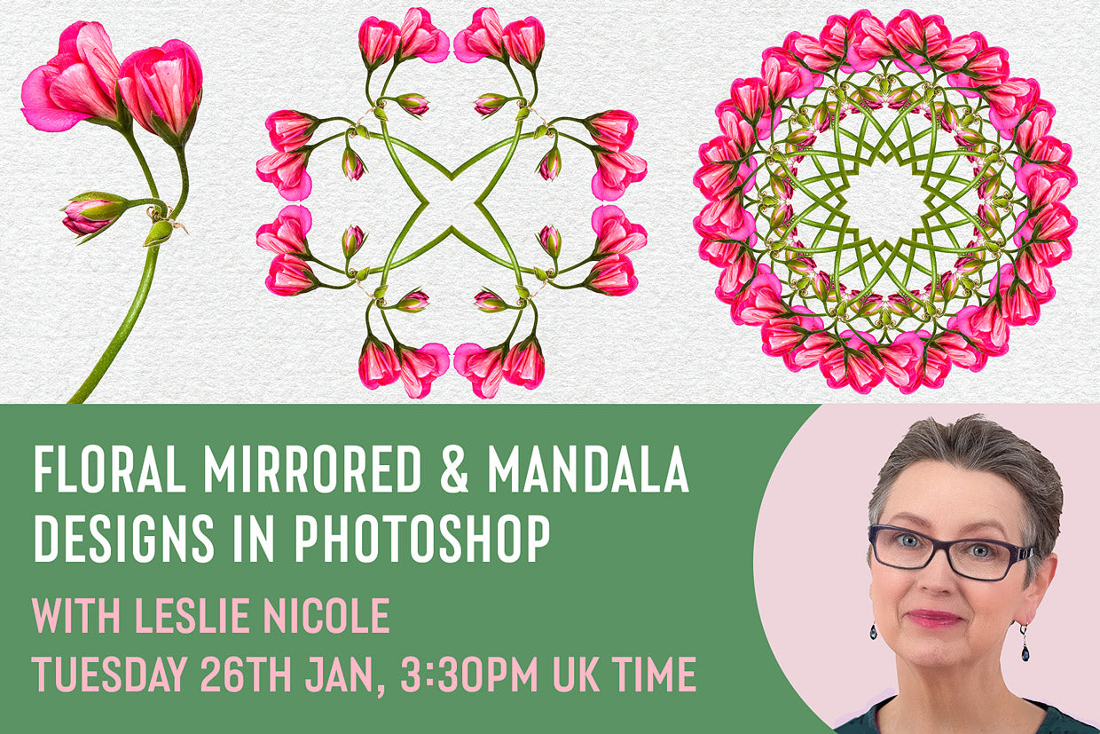 Floral Mirrored & Mandala designs in Photoshop Free video tutorial with Leslie Nicole hosted by Design Cuts..