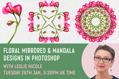 Floral Mirrored & Mandala designs in Photoshop Free video tutorial with Leslie Nicole hosted by Design Cuts.