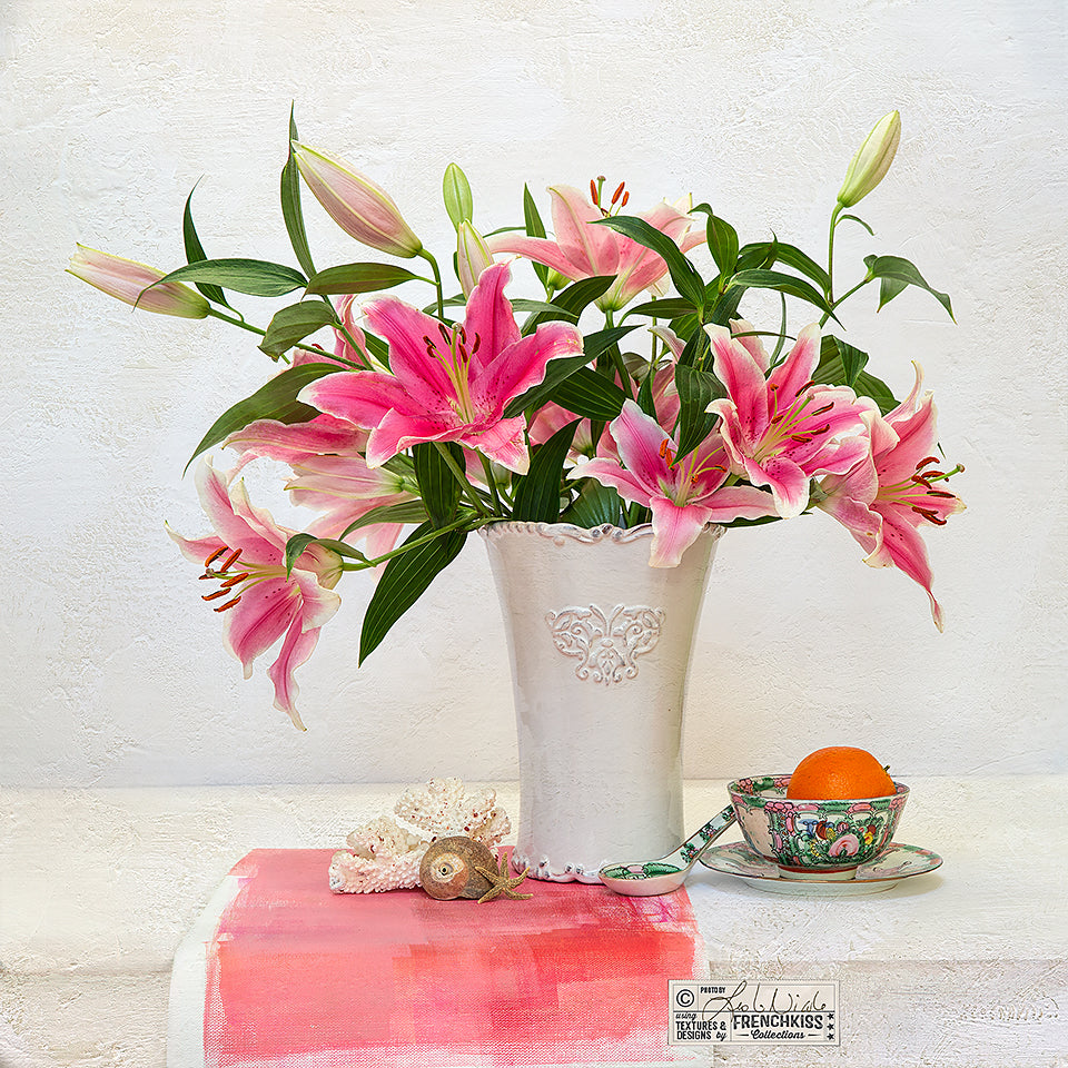 Lilies and orange textured still life by Leslie Nicole