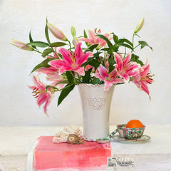 Lilies and orange textured photograph still life by Leslie Nicole.