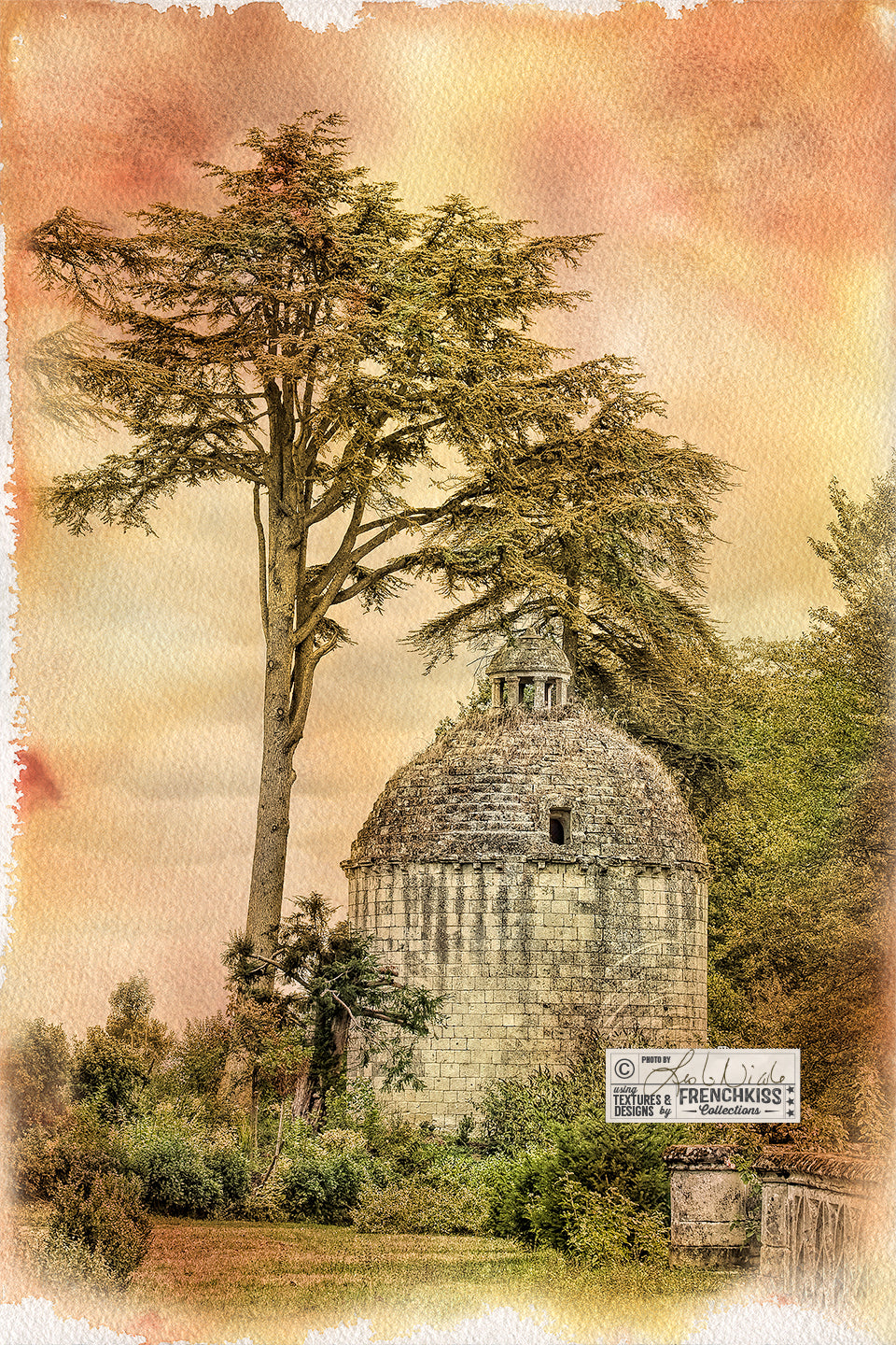 Photograph of an ancient building in France with a watercolor texture treatment. Photograph by Leslie Nicole, texture from the Autumn Rain collection.