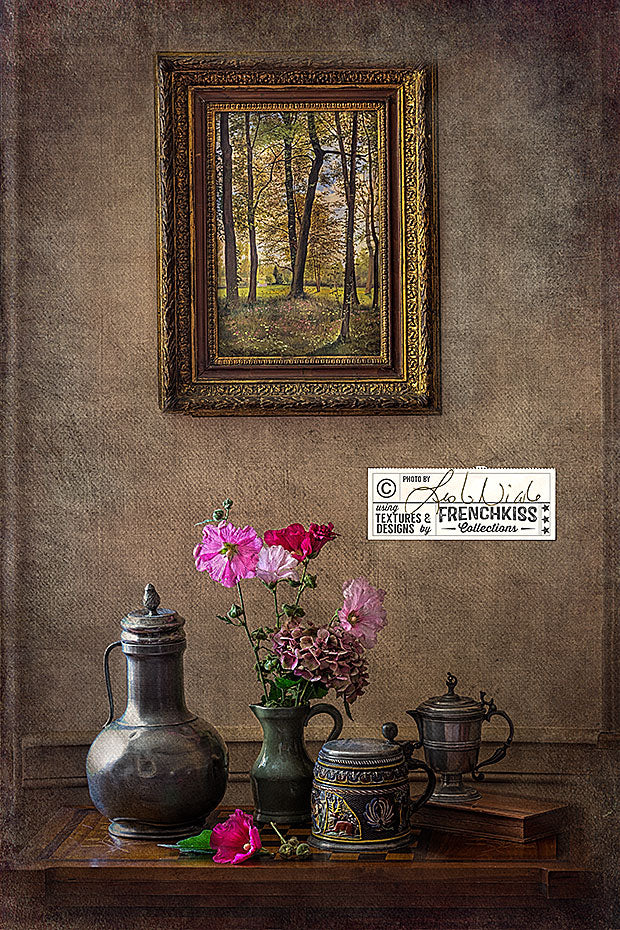 Textured still life with pitchers, hollyhocks and a painting in a chiaroscuro style.