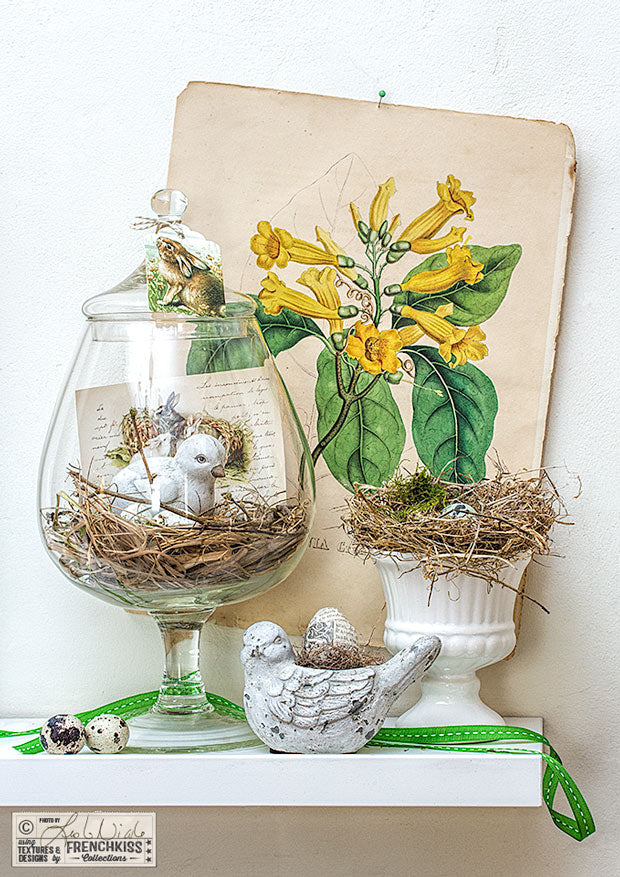 Easter display with vintage elements, apothecary jar and printable images