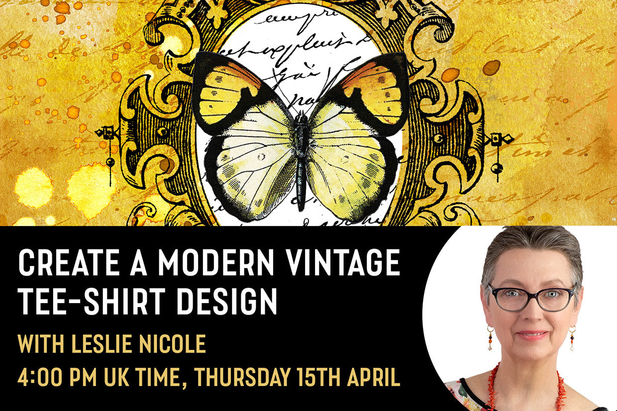 Create a modern vintage tee-shirt design live session with design cuts and Leslie Nicole.
