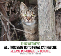 Cat rescue fund this weekend. All proceeds support feral cat care.