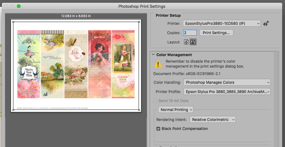 Choosing an ICC profile in Photoshop for bookmark printables.