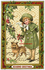 Christmas greeting usage example for Seasonal Frames digital graphics from Victorian Trade Cards.