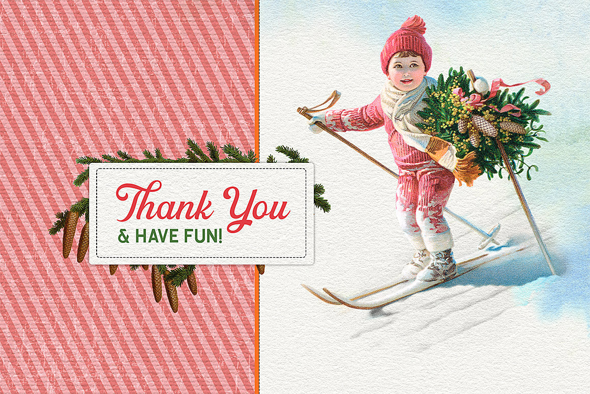 Chrismas vintage illustration of a boy skiing and thank you.