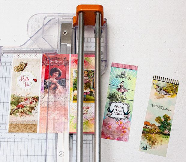 Trim bookmarks carefully to size.