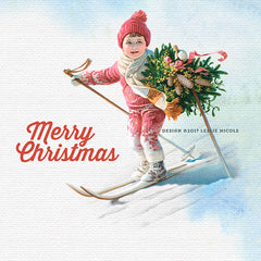 Design using a vintage illustration of a boy skiing with a Christmas Wreath.