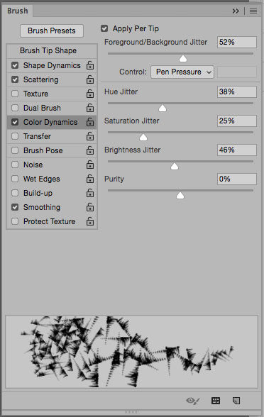 Photoshop brush preset color dynamics.