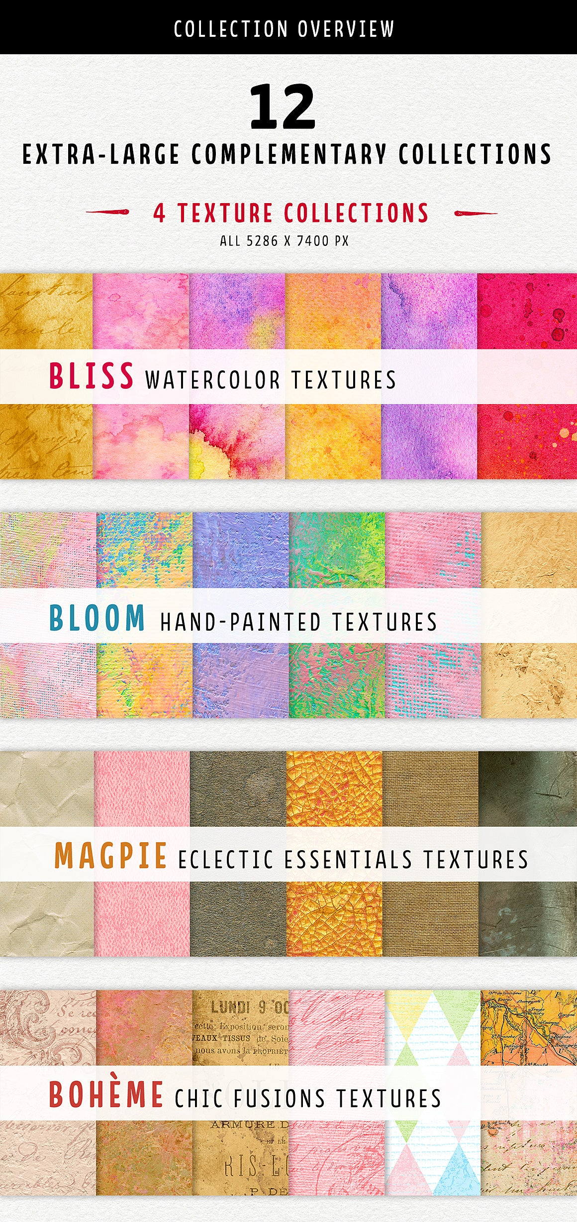 4 unique texture collections in the Complete Inspirational Texture and Elements Collection.