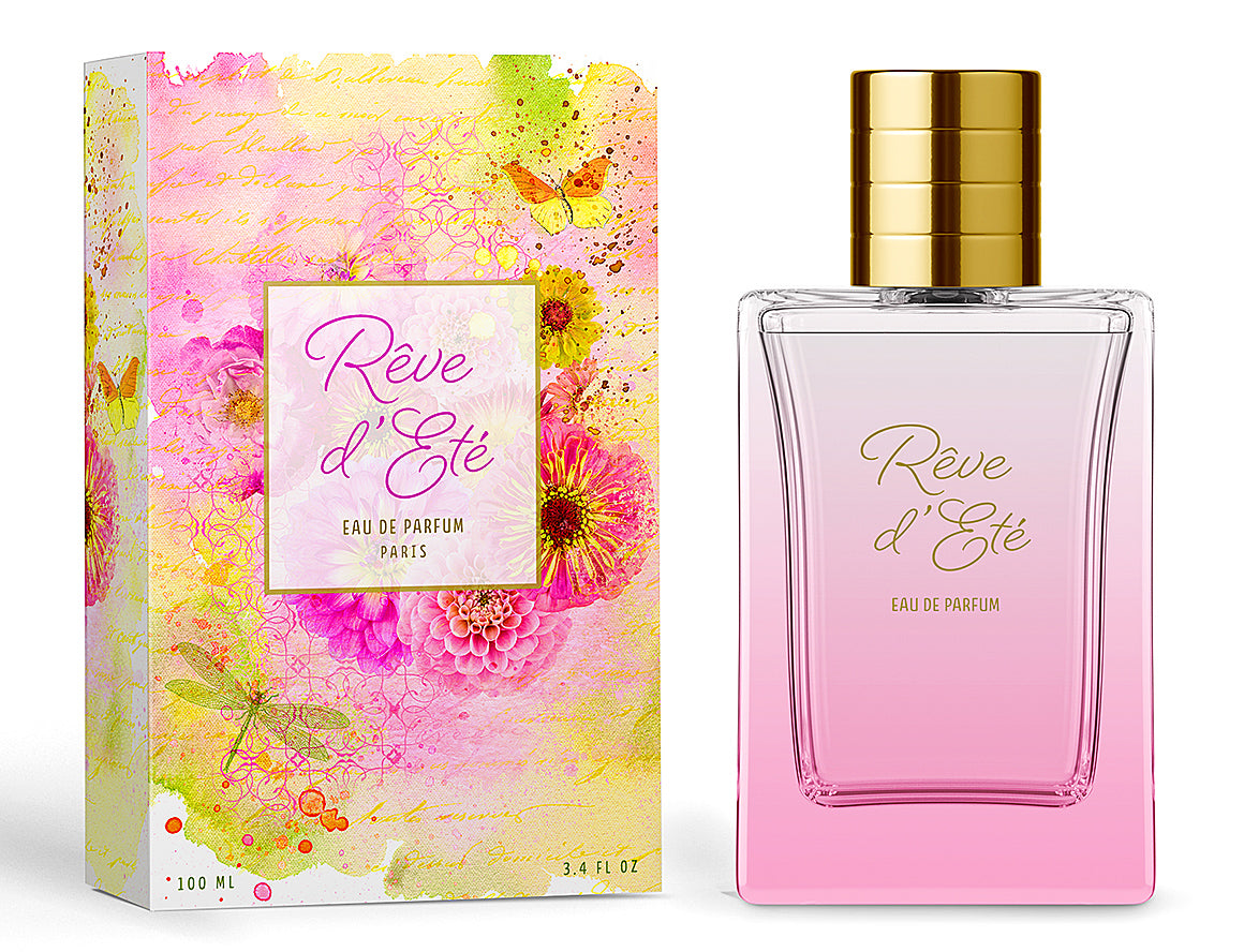 Perfume packaging design with photographic floral art by Leslie Nicole.