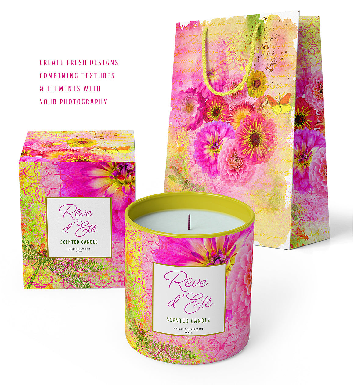 Candle and shopping bag packaging design mockups using the Complete Inspirational Textures and Elements Collection.